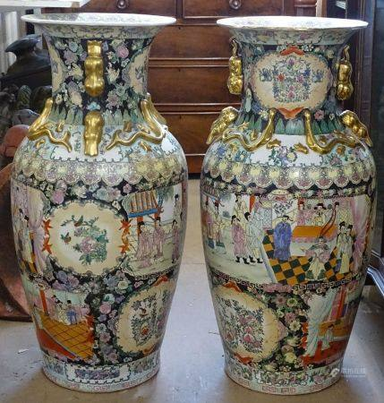 A pair of large Chinese design vases, with enameled and gilded decoration, H93cm