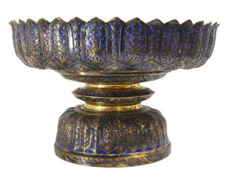 A Chinese Export gilt silver and enamel compote, fashioned i