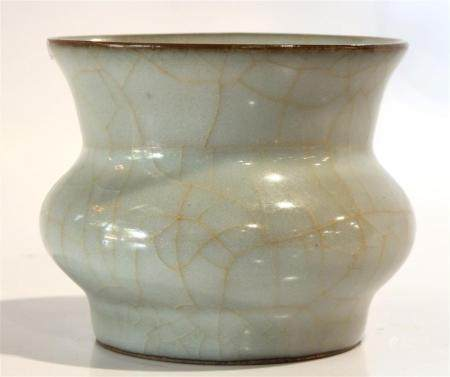 Chinese Guan-type jar, the compressed globular body with a f