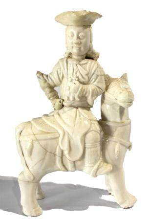Chinese Export Dehua porcelain figure of horse and rider, th