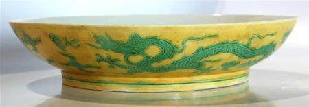 Chinese Yellow And Green Dragon Dish