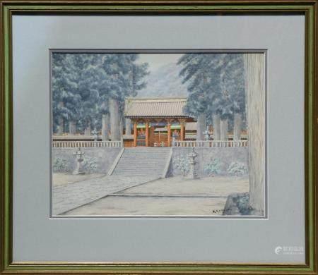 Watercolor, Japanese Garden