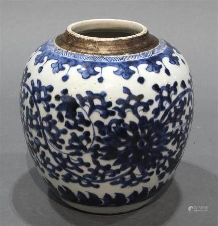 Chinese underglaze blue ginger jar with lotus vine decoratio
