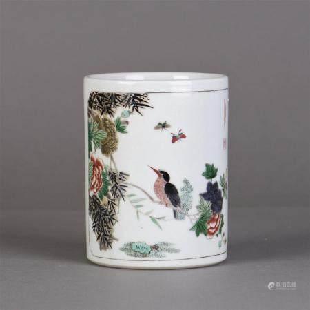 "A Chinese Wucai ""Bird and flower"" Brush Pot"
