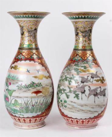 Pair Japanese Yokohama porcelain vases Meiji Period