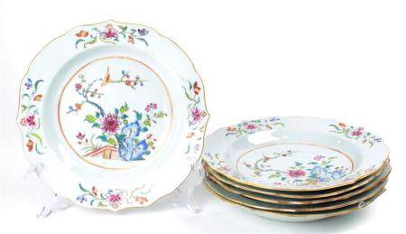 (lot of 6) Set of Chinese Famille Rose porcelain plates deco