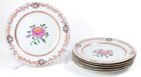 (lot of 6) Set of Chinese Export Famille Rose porcelain plat