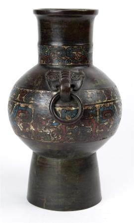 "Japanese archaistic bronze urn with taotie handles, 11.75""h"