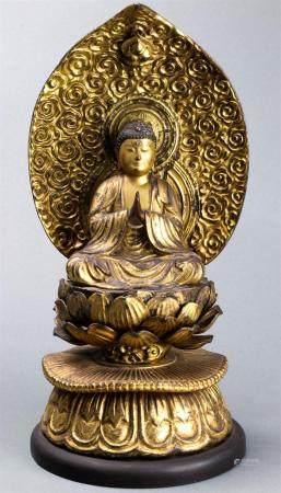 Japanese Gilt Wooden Buddha