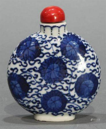 Large Chinese underglaze blue snuff bottle with lotus scroll