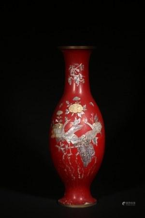 紅漆嵌螺鈿鳳凰圖大瓶