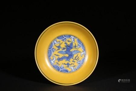 黃地青花盤