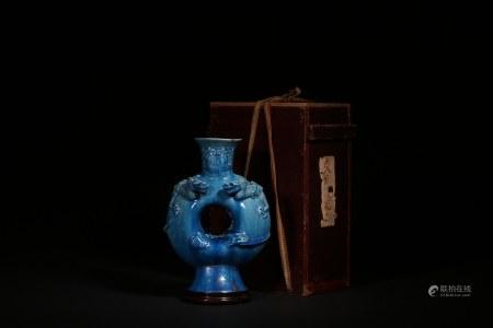 明 孔雀藍釉雙龍瓶