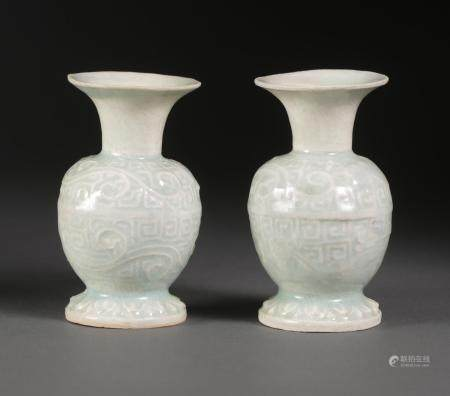 Pair of Chinese Small Qingbai Molded Baluster Vases, Southern Song Dynasty FR3SHLM