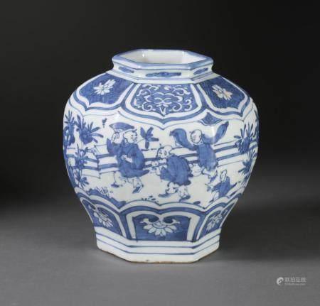 Chinese Blue & White 'Kids' Hexagonal Jar, Ming Dynasty, Jiajing Period (1522-1566) FR3SHLM