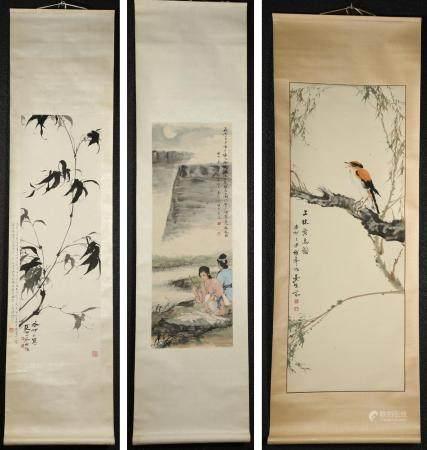 Three Chinese Ink on Paper Hanging Scrolls, 20th Century  FR3SHLMP