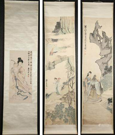 Three Chinese Hanging Scrolls, Ladies at Various Tasks, Inks and Gouache on Paper FR3SHLMP