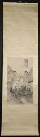 Chinese Hanging Scroll, Pavillion Among Clouds, Color Ink/Paper, Poss. Xia ingguan, 20th C FR3SHLMP
