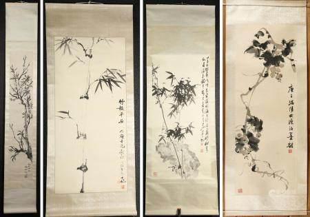 Four Chinese Hanging Scrolls, Inks on Paper FR3SHLMP