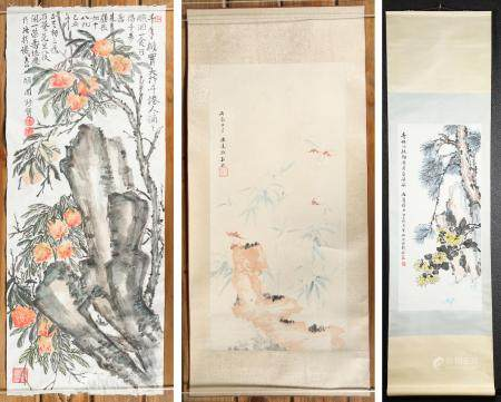 Three Chinese Hanging Scrolls, Branches and Blossoms, Inks on Paper FR3SHLMP