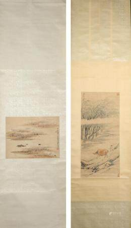 Two Chinese Hanging Scrolls, Colored Ink on Paper FR3SHLMP