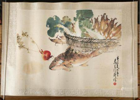 Chinese Painting, Cabbage, Raddish and Fish, Gouache on Paper, 20th Century FR3SHLMP