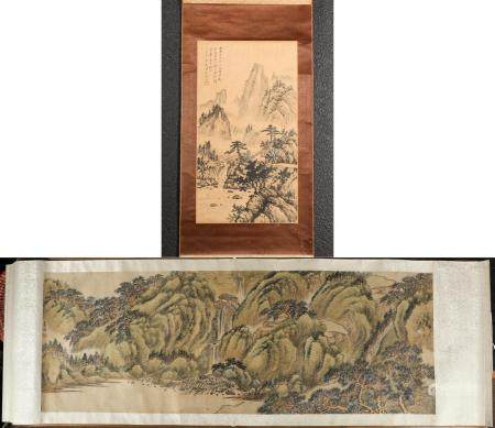 Two Chinese Hanging Scrolls, Mountain Landscapes, Ink on Paper and Inks on Silk FR3SHLMP