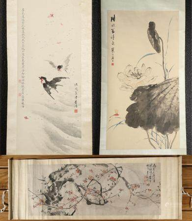 Three Chinese Scroll Painting, Hu Zhang and Others FR3SHLMP