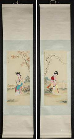 Two Chinese Hanging Scrolls, Beauties in Gardens, Gouache on Silk, 20th Century/ Modern FR3SHLMP
