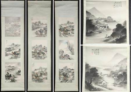 Group of Five Chinese Hanging Scrolls, River Scenes, Inks on Paper, 20th Century/ Modern FR3SHLMP