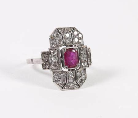 Platinum, Old Mine Cut Diamond, and Ruby Ring FJS1