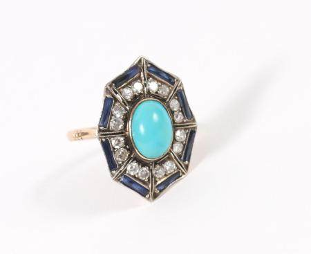 Gold, Turquoise and Gemstone Ring FJS1