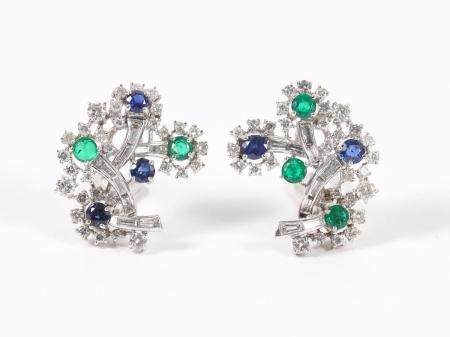 18K White Gold, Diamond, Emerald and Sapphire Earclips, Petochi Roma  FJS1