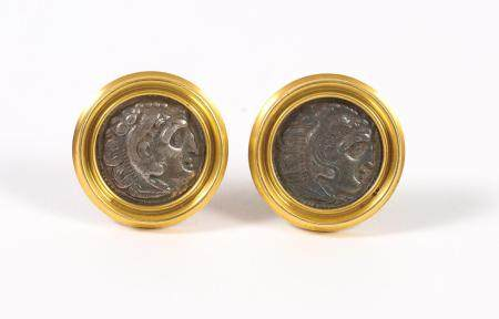 Pair of Italian Gold Mounted Ancient Roman Coin Earrings, Ariadne, 1995  FJS1