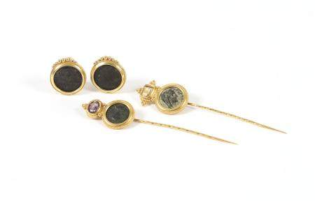 Pair of 18k Gold Mounted Ancient Coin Earrings and Two Matching Stick Pins FJS1