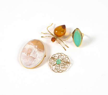 Turquoise and Gold Ring, Two Gold Brooches and a Gold Plate Brooch FJS1