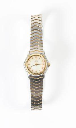 EBEL Ladies Wave Stainless Steel and Gold Bezel Watch with a Mother of Pearl Face  FJS1