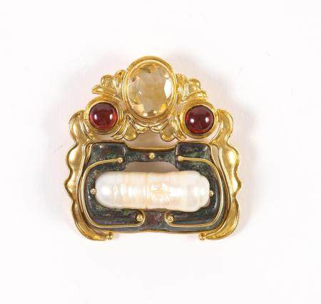 18K Gold, Freshwater Pearl, Ancient Bronze and Gemstone Brooch  FJS1