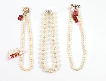 Three Majorica Cultured Pearl Necklaces with Silver Clasps plus a Silver Mabe Pearl Clasp FJS1