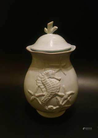 Asian Carved candy ceramic jar