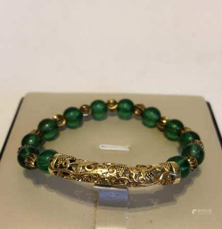 vintage Chinese Green Peking glass Link Bracelet