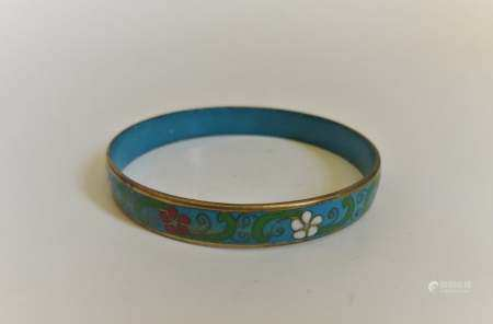 Chinese cloisonne gilt bracelet bangle blue