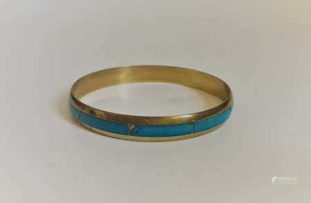 Vintage Chinese Export cloisonne gilt bangle bracelet