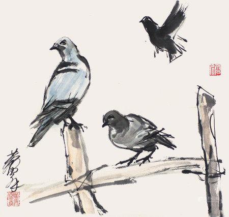 黃胄  和平鴿