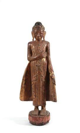 Bouddha debout, Birmanie Vêtu de la robe monastique Utarasanga rehaussée de pierres multicolore