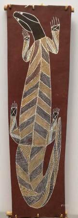 Jackie Namandali  Lézard /Goanna, 1997  Le lézard, ici représenté sur le sol brun, est très pré