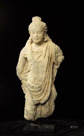 Art Gréco Bouddhique du Gandhara  (Ier à Vème siècle) Boddhisatva debout  En schiste  Avec cert