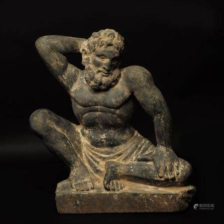 Art Gréco-Bouddhique du Gandhara (Ier-Vème siècle AP J.-C.) Elément de bas-relief en schiste gr