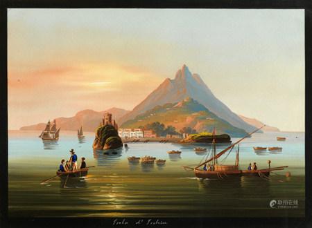 Ecole napolitaine de la fin du XIXe siècle Deux vues de la baie de Naples Aquarelles [...]