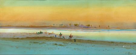 Frederick GOODALL (Londres, 1822 - 1904) Vue des bords du Nil animée de bédouins [...]